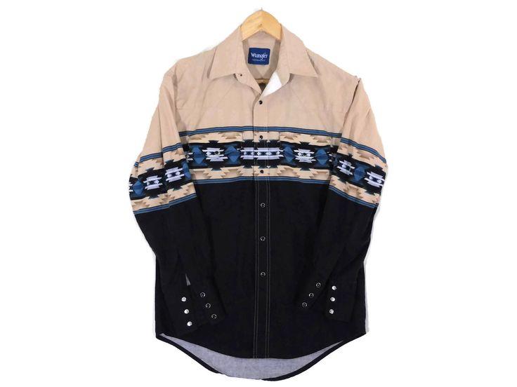 VTG Wrangler Western Shirt - Medium Mens - Cowboy Shirt - Rockabilly - Vintage Clothing - Tribal Print - Southwest - Texas - Arizona - by BLACKMAGIKA on Etsy