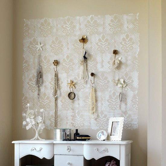 delicate lace stencil: Interior Design, Wall Hooks, Jewelry Display, Decorating Ideas, Lace Stencil, Stencil Wall, Dressing Room, Bedroom Ideas