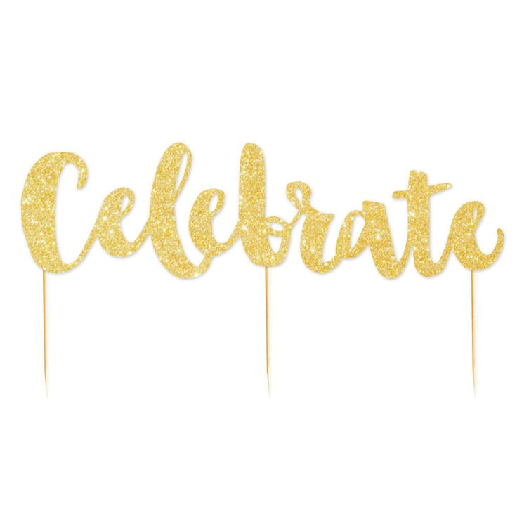 Let's Party With Balloons -  'Celebrate' Gold Glitter Cake Topper | Illume Design, $11.00 (http://www.letspartywithballoons.com.au/celebrate-gold-glitter-cake-topper-illume-design/)