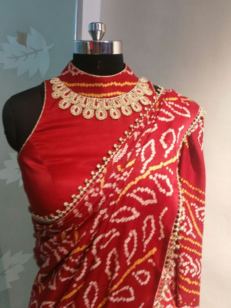 Red bandhej saree …
