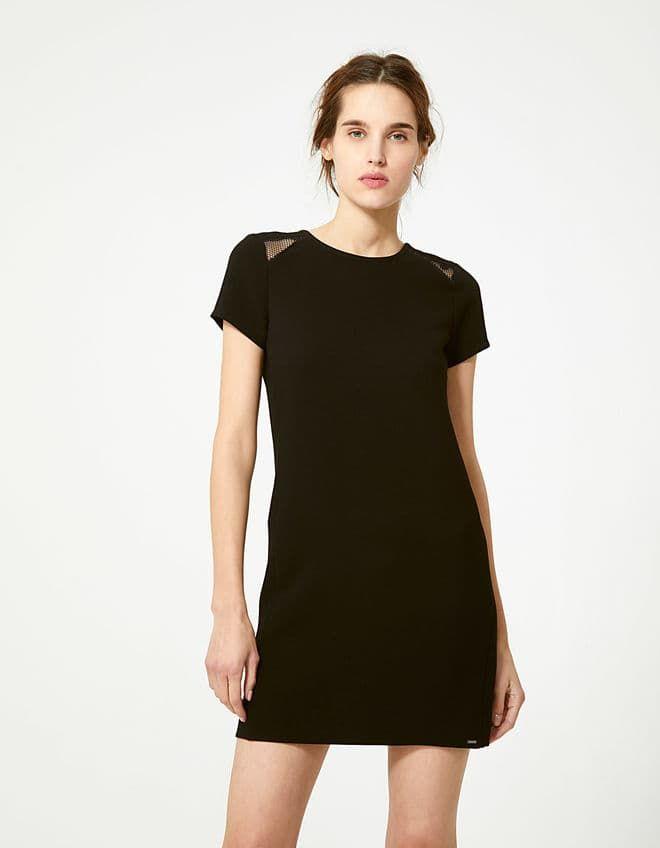 15200533b63c5c Zwarte jurk met mesh hals