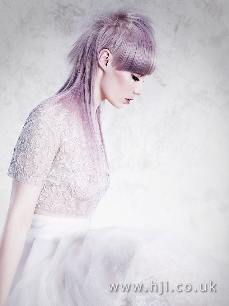 2016 smokey lilac long disconnected mullet with blunt fringe - Hairstyle Gallery