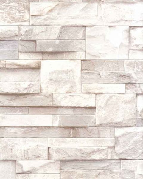 Slate Stone Brick Wall 3D Effect Textured Vinyl Wallpaper Beige J27407
