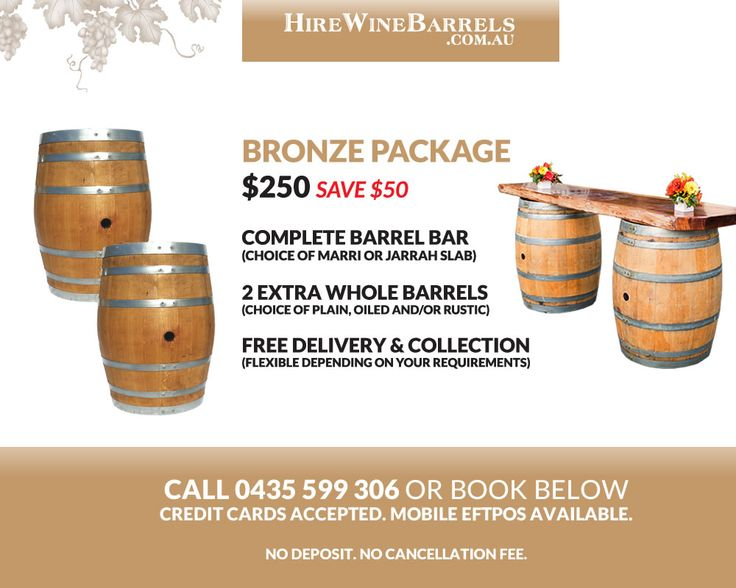 Hire out whole wine barrels, half barrels, barrel bars and more! Free delivery in Perth. Perfect for weddings, parties and functions.