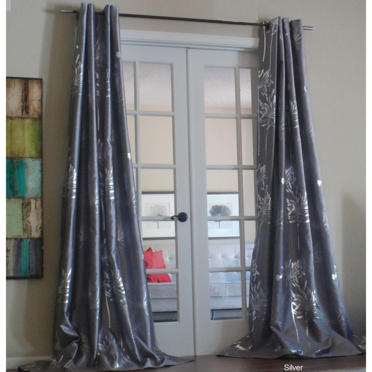 Liliana Grommet With Silver Metallic Pattern 96 inch Curtain Panel | Overstock.com Shopping - The Best Deals on Curtains