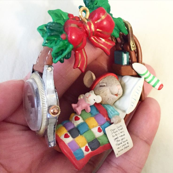 """My newest ornament  the mouse is sleeping in a watchband and his letter to Santa reads: """"I have tried to be a very good mouse this year. Please leave me a piece of Swiss cheese""""  #cutelittlethings #christmas #ornaments #mouse #holiday #mice #enesco"""