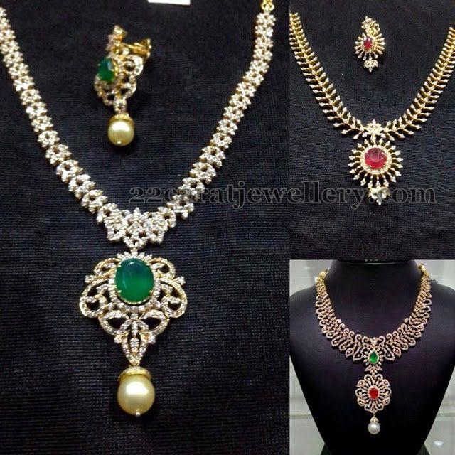 Jewellery Designs: Elegant yet Simple Diamond Necklaces