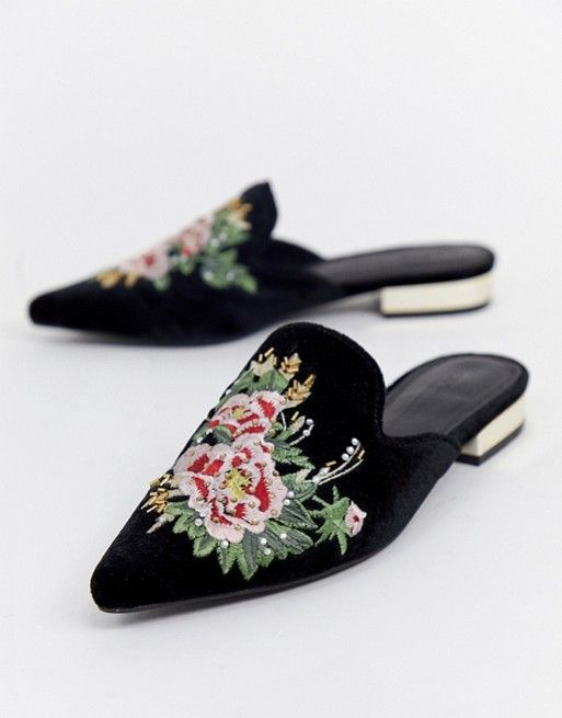 Image result for ASOS DESIGN Maldives embroidered mules