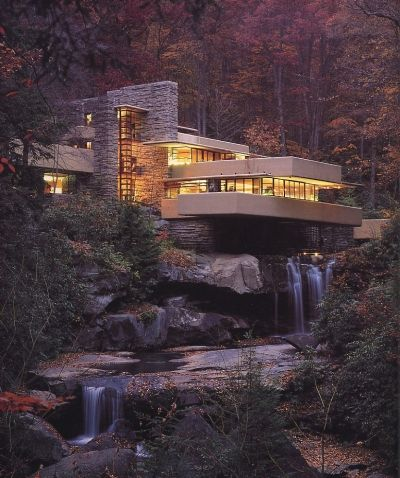 Fallingwater, (Kaufman Residence). 1936-39. Bear Run Creek in Mill Run, Pennsylvania.  Frank Lloyd Wright.