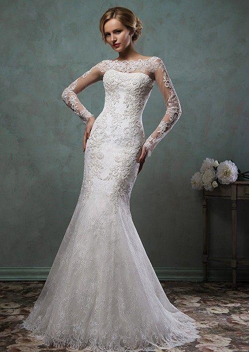 Trumpet/Mermaid Bateau Sweep Train Lace Wedding Dress With Appliqued