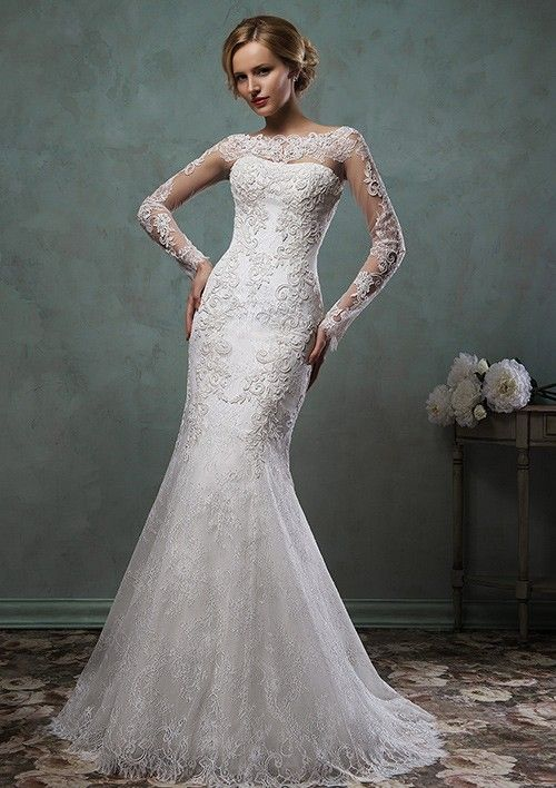Trumpet/Mermaid Bateau Sweep Train Lace Wedding Dress With Appliqued