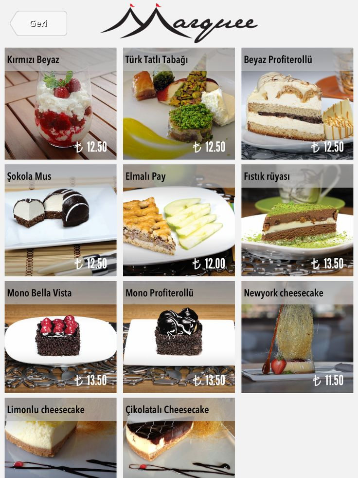 Desserts on iPad menu. FineDine Tablet Restaurant Menus