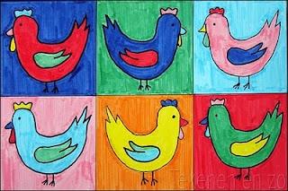Begeleide of zelfstandige activiteit - Kippen in de stijl van Andy Warhol
