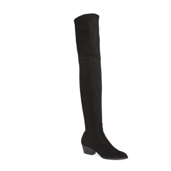 DOLCE VITA 'Sparrow' Thigh High Almond Toe Boot ($200) ❤ liked on Polyvore featuring shoes, boots, stretch thigh high boots, over the knee thigh high boots, block heel thigh high boots, above-knee boots and dolce vita over the knee boots