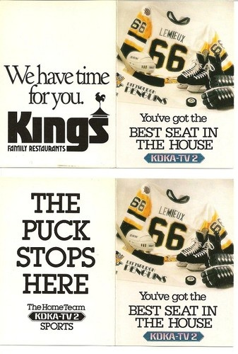 1990-91 Pittsburgh Penguins Mario KDKA-TV2 Kings Hockey Schedule