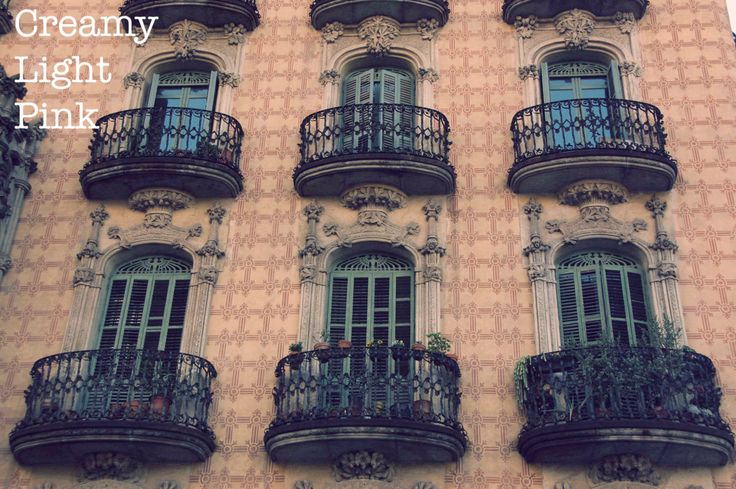 Balconies in Barcelona photograph; romantic and architecture photography; wall art; fine art; instant download by CreamyLightPink on Etsy