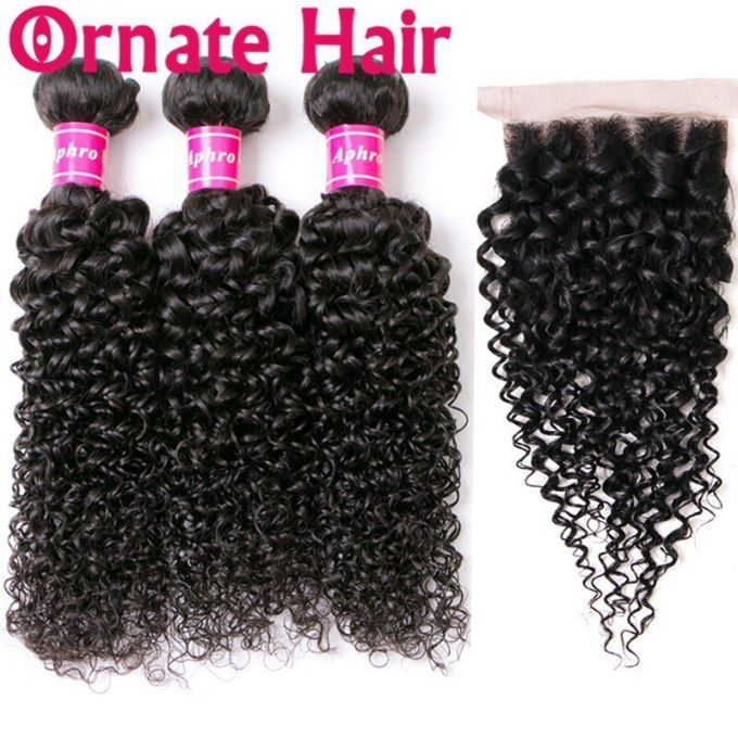Lace Closure With Bundles Peruvian Water Wave Human Hair Bundles With 4X4 Closure Double Weft Remy Hair Weave Extensions Natural