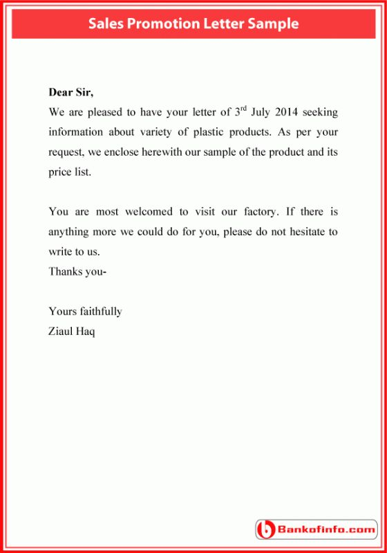 Sales Promotion Letter Sample Letter Letter Sample
