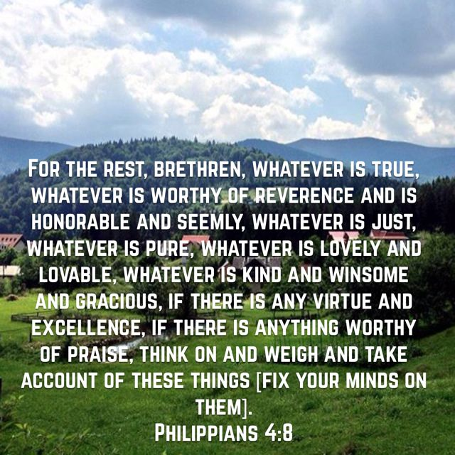 For the rest, brethren, whatever is true, whatever is worthy of reverence and is honorable and seemly, whatever is just, whatever is pure, whatever is lovely and lovable, whatever is kind and winsome and gracious, if there is any virtue and excellence, if there is anything worthy of praise, think on and weigh and take account of these things [fix your minds on them]. (Philippians 4:8 AMP)Have a blessed day n Jesus Christ..May God bless you abundantly...