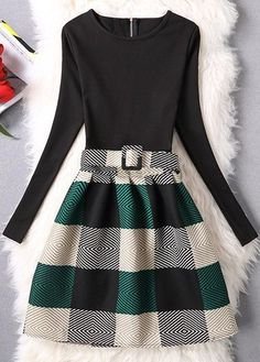 Belt Design Plaid Print A Line Dress  on sale only US$25.43 now, buy cheap Belt Design Plaid Print A Line Dress  at lulugal.com