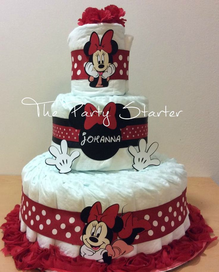 Minnie Mouse diaper cake.   Like what you see, Follow me on Etsy! https://www.etsy.com/shop/ThePartyStarterInc
