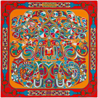 """Folklore d'Henri d'Origny"", 140x140 cm scarf in plume twill. Design: Henri d'Origny. Play with your Hermès scarf with the Silk Knots app! hermes.com/silkknots #Hermes #Silk #SilkKnots"