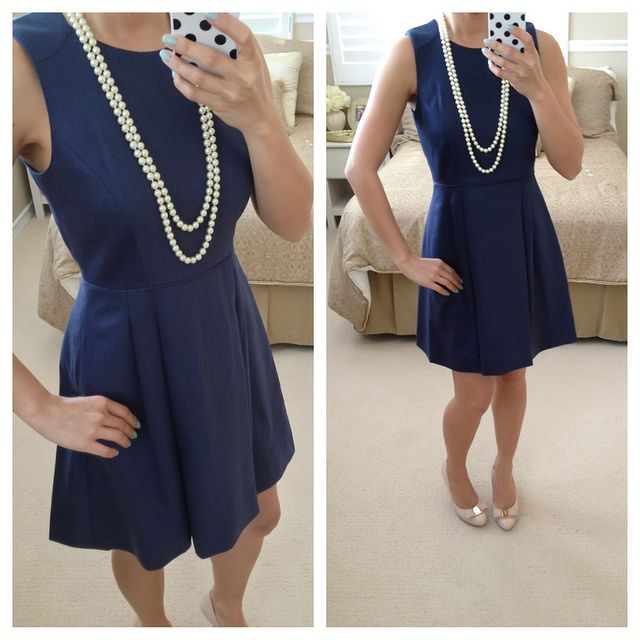 J.Crew a-line navy dress; add yellow accents