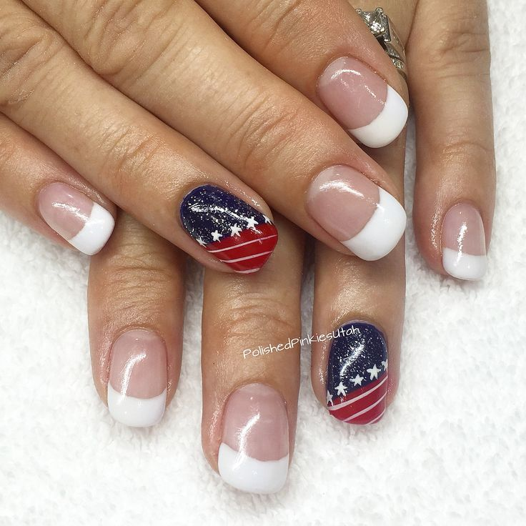 Polished Pinkies Utah: patriotic French manicure. What better way to spruce up a classic like a French mani than with a patriotic motif? Red, white, blue, stripes, sparkles and stars. Perfection! Gel nails, gel polish, patriotic nails, French manicure, Fourth of July, 4th of July, summer nails.