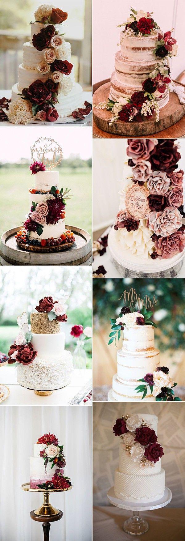 tolle burgunder hochzeitstorten mit floralen #hochzeitsfarben #hochzeitsthemen #fallwe …   – | WEDDING BLUMEN |