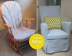 Glider Re-Do: I think this DIY is great. This looks easy too. Love the improvement. This glider would be great for a new mother and baby in the nursery for nighttime feedings. Grandparents who babysit might enjoy one too-or anyone who enjoys relaxing in a glider. Great updated transformation on an easy and inexpensive item to find.