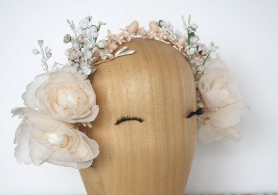RESERVED Custom Wedding Headpiece /  Bridal Floral Crown / Millinery headpiece / Pale Peach And White Floral Crown