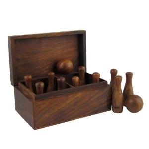 Bowling de voyage - 2 boules et 10 quilles en bois- Jeu fait main: Amazon.fr: Jeux et Jouets