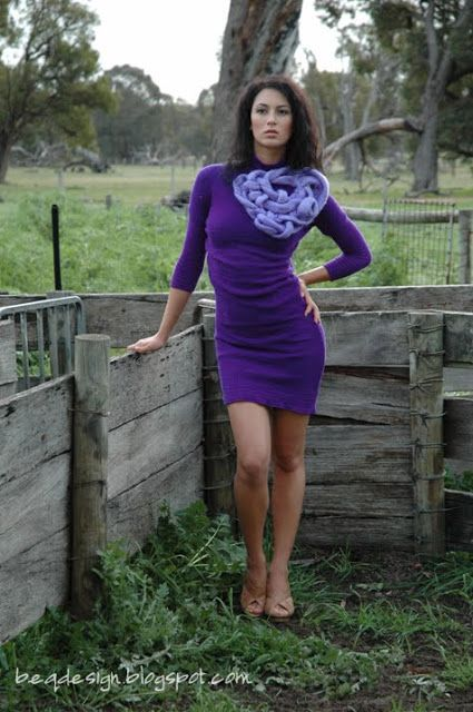 Knitwear Designer: Rebecca Timson, Model: Mikka Hendrawidjaja. Designed and created for Perth Fashion Festival - A Touch of Wool III Purple knitted Dress