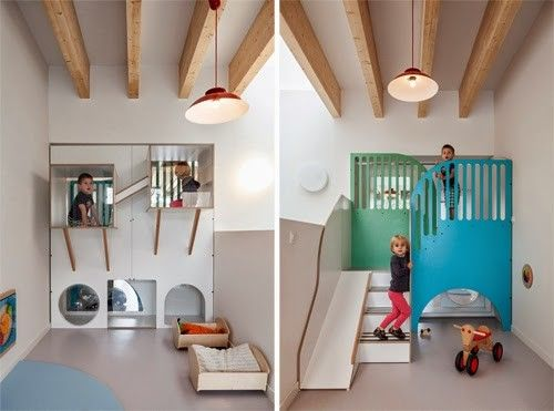 Pluchke Daycare in Brussels by ZAmpone Architectuur | play structures are built-in!
