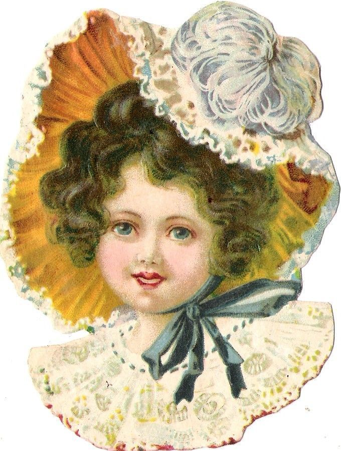 Oblaten Glanzbild scrap die cut chromo Kind child lady girl fille Mädchen Hut: