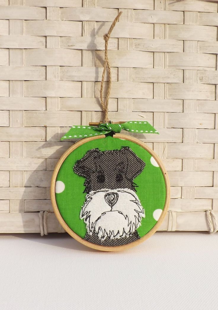 Schnauzer, miniature schnauzer, dog, hoop, hoop art, applique, embroidery, free motion, gift, decoration, ornament, Birthday by TheDogandtheMoon on Etsy