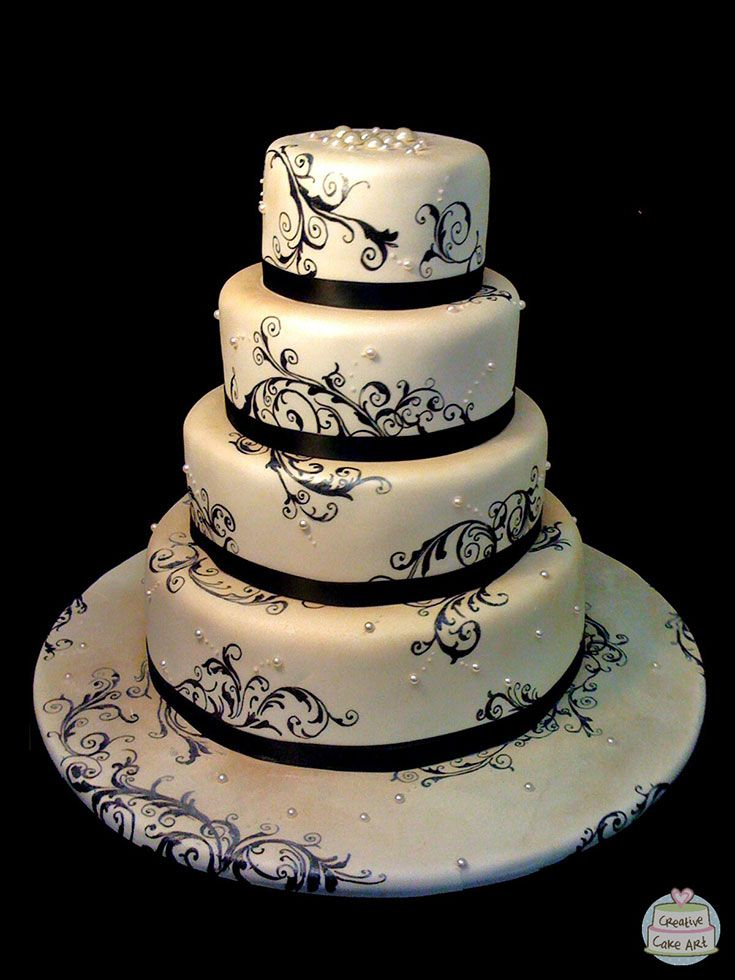 Vintage themed artistic wedding cake