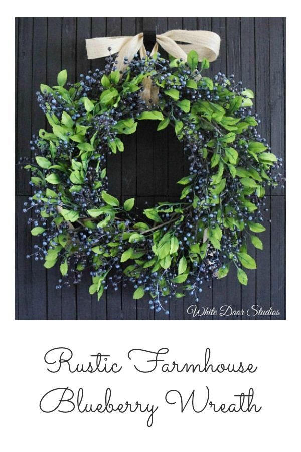 Rustic Farmhouse Blueberry Wreath is perfect for the front door for summertime or it would be so pretty in a kitchen. #farmhouse #farmhousestyle #farmhousedecor #home #homedecor #rusticdecor #Blueberry #wreaths #etsy #etsyfinds #affiliatelink