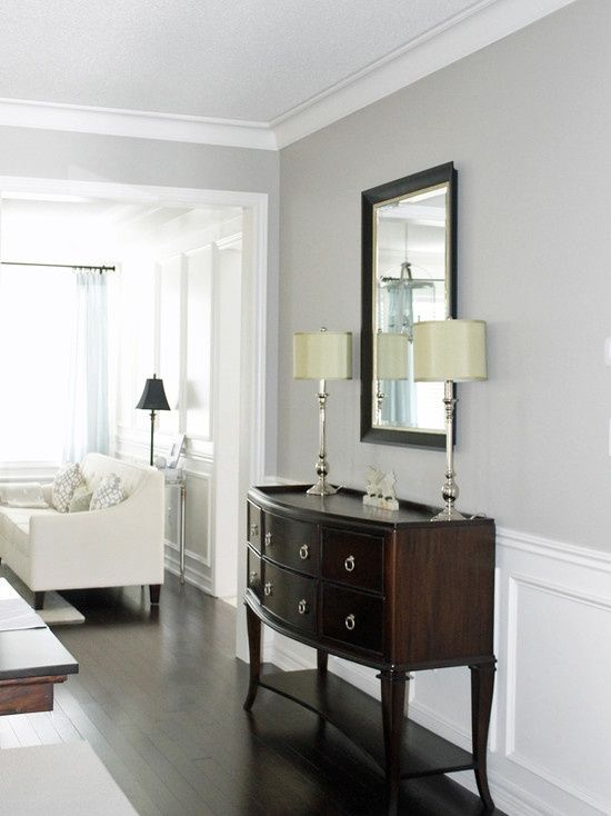 Benjamin Moore Revere Pewter.  Crisp grey and white with contrast in bureau.