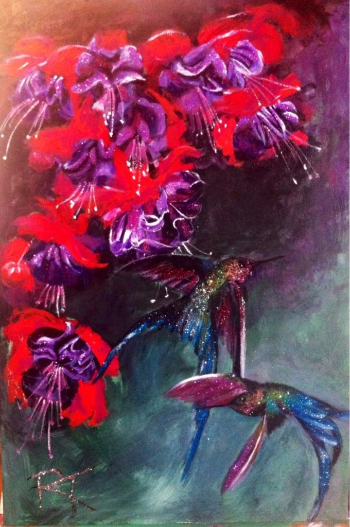 Violet tailed sylphs with fushias -  mixed media