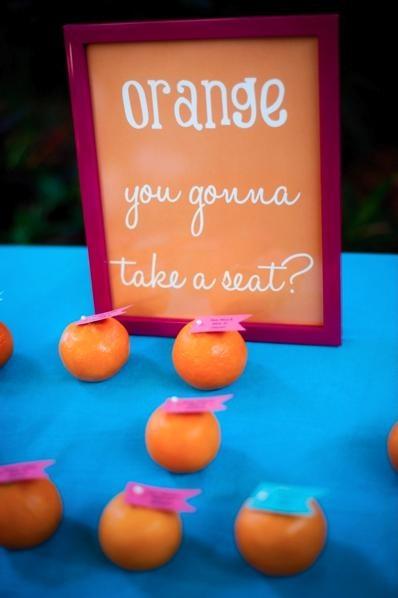 Orange Wedding Inspiration | Escort Cards