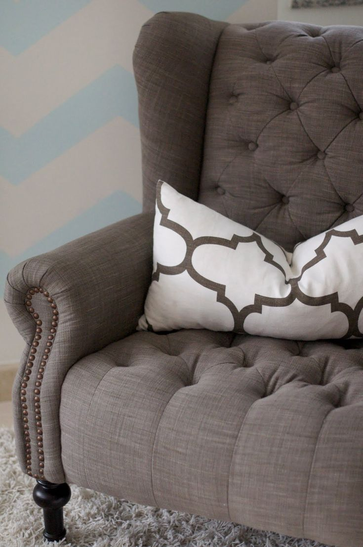 Find This Pin And More On The New Look!. Gray Tufted Wing Back Chair