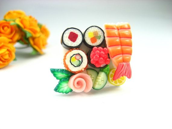 Maki and Ebi Lovely Sushi Ring - polymer clay food jewelry , food ring via Etsy