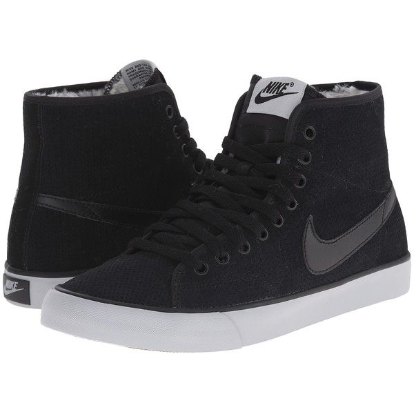 Nike Primo Court Mid Suede Women's Shoes, Black ($60) ❤ liked on Polyvore featuring shoes, black, laced up shoes, nike, suede shoes, nike footwear and laced shoes