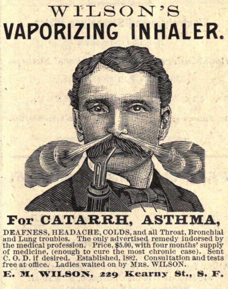 Vintage Ephemera: Engraved advertisement, Wilson's Vaporizing Inhaler, 1883