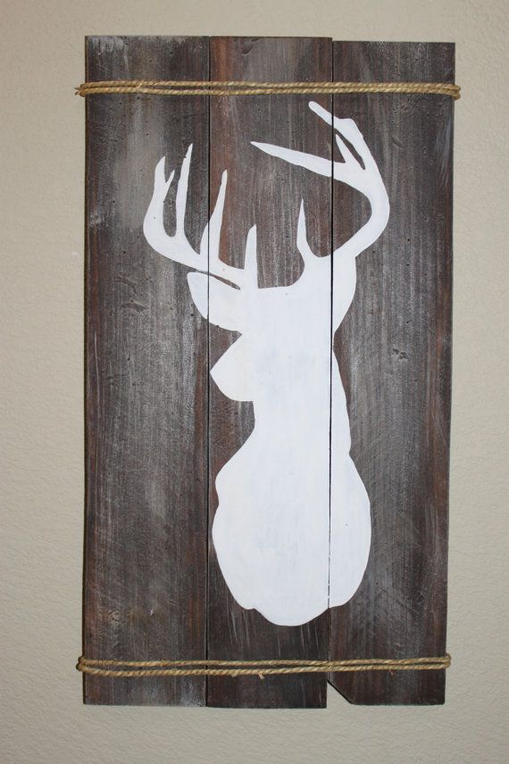 Hand Painted Deer Head Silhouette by ThisIsAPieceOfWood on Etsy - $45