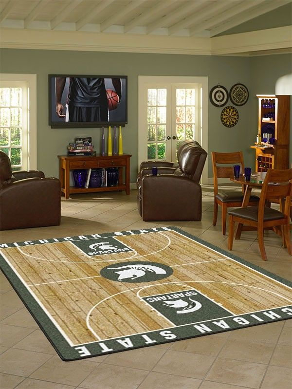 Michigan State Collegiate Basketball Court Rug