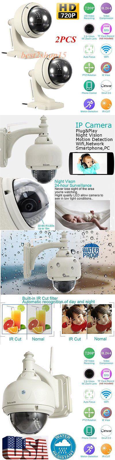 Security Cameras: 2 Sricam Wireless Outdoor Pan/Tilt Network Cctv Camera P2p Wifi Ip Webcam Ir-Cut BUY IT NOW ONLY: $118.95