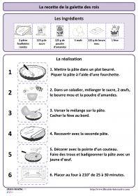 Recette de la galette des rois Une recette simple de la galette des rois, plusieurs affiches et des documents pédagogiques pour l'exploiter en maternelle (PS MS et GS) et au cycle 2 (CP et CE1)