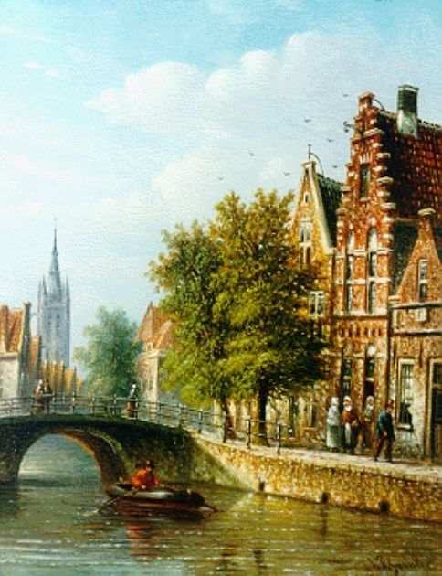 Johannes Franciscus Spohler (Rotterdam 1853-1894 Amsterdam) A canal in summer - Dutch Art Gallery Simonis and Buunk Ede, Netherlands.